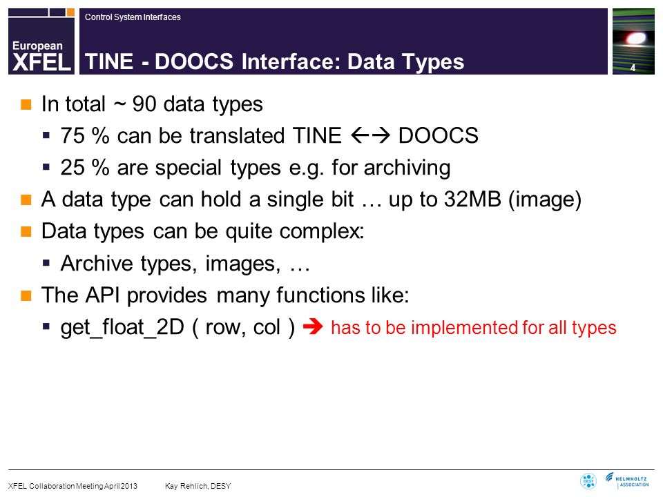 TINE - DOOCS Interface: Data Types