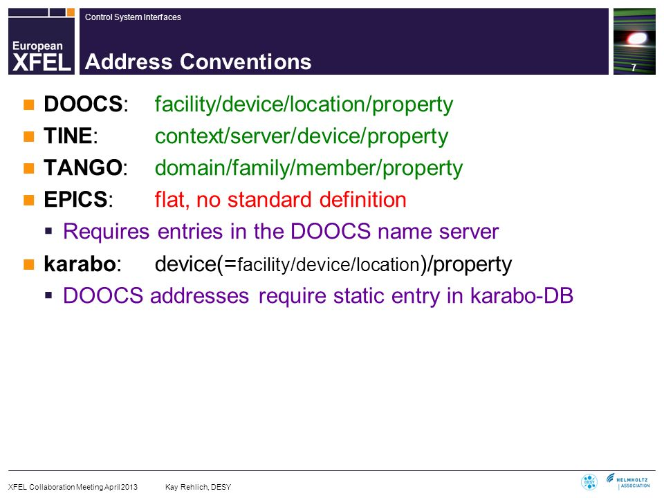 DOOCS: facility/device/location/property