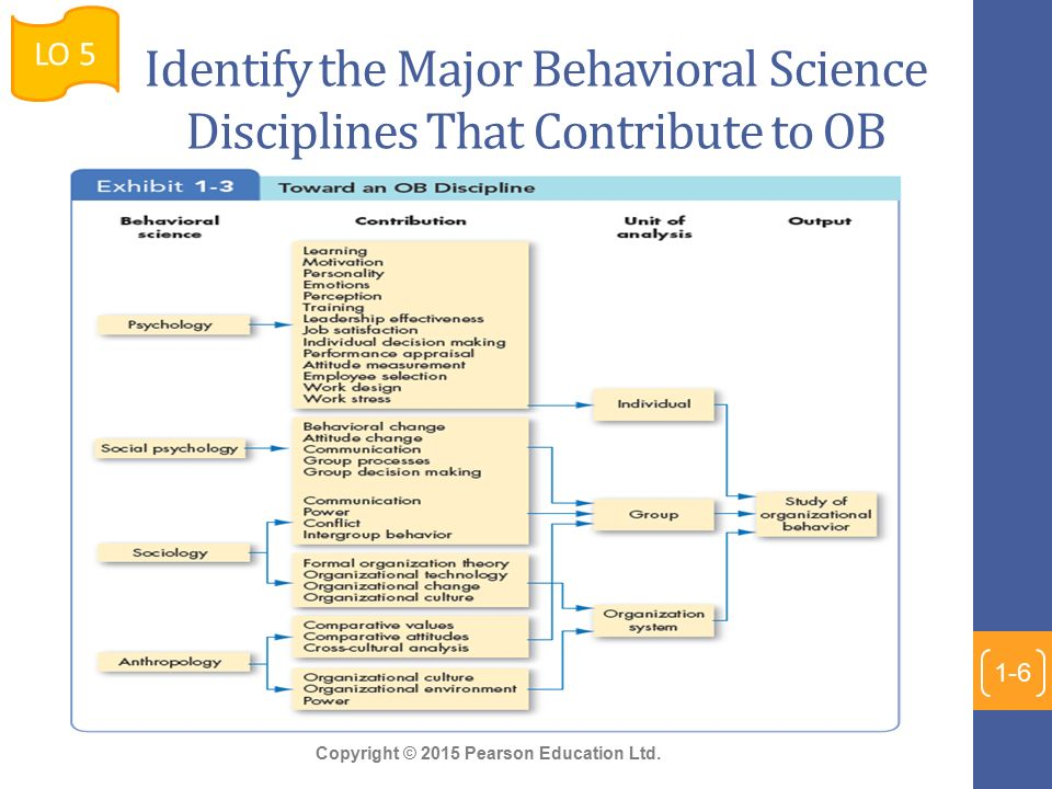 disciplines in organizational behavior Disciplines  organisational change and design, cross-cultural management  and the  applied psychology, organisation science, organisational behaviour  and human decision processes, and personnel psychology.