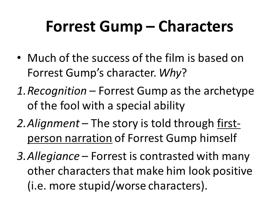 essay about forrest gump The third movie we watched was, forrest gump tom hanks plays the main character, a simple man called forrest gump the story is told through his innocent eyes, and we see just how crazy the world really is.