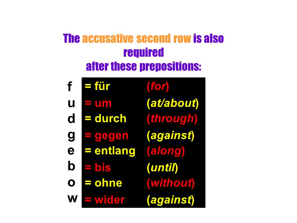 The accusative second row is also required after these prepositions: