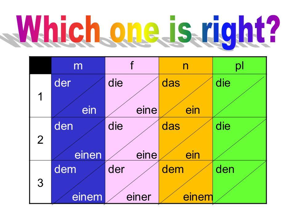 Which one is right m f n pl 1 der die das 2 den 3 dem ein eine ein