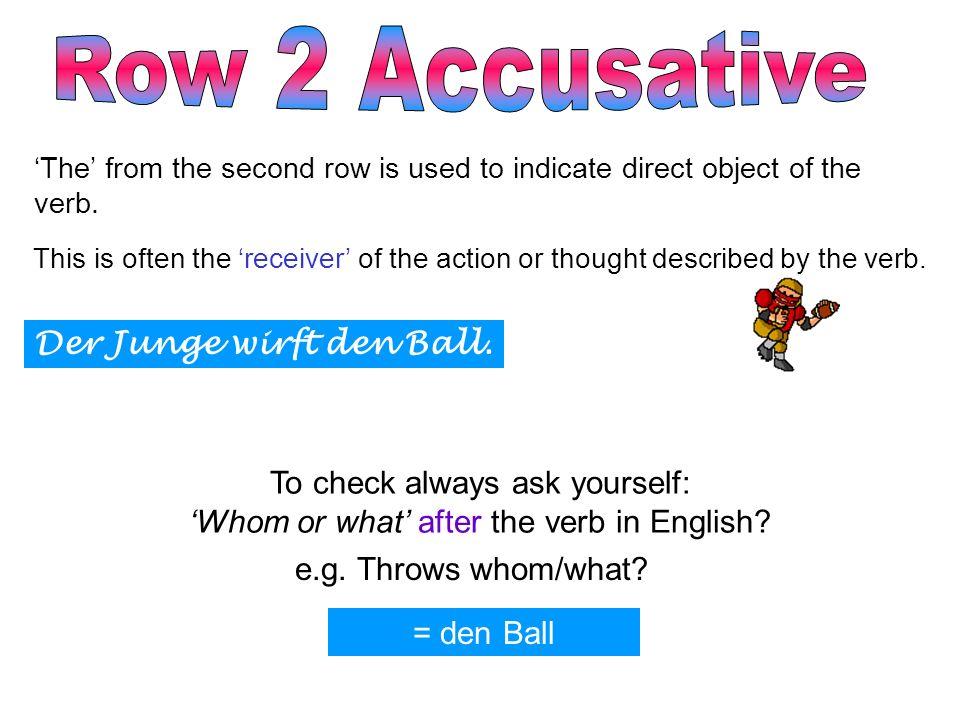 Row 2 Accusative Der Junge wirft den Ball.