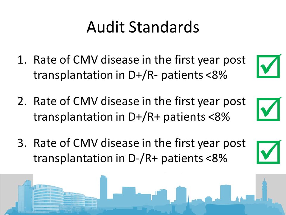 Audit Standards  Rate of CMV disease in the first year post transplantation in D+/