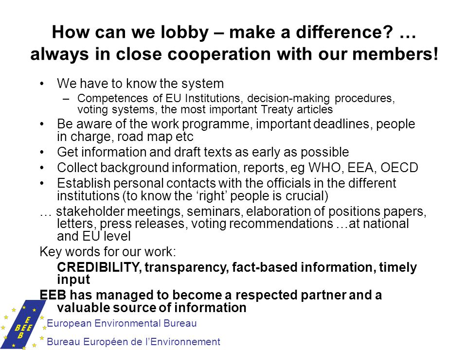 How can we lobby – make a difference