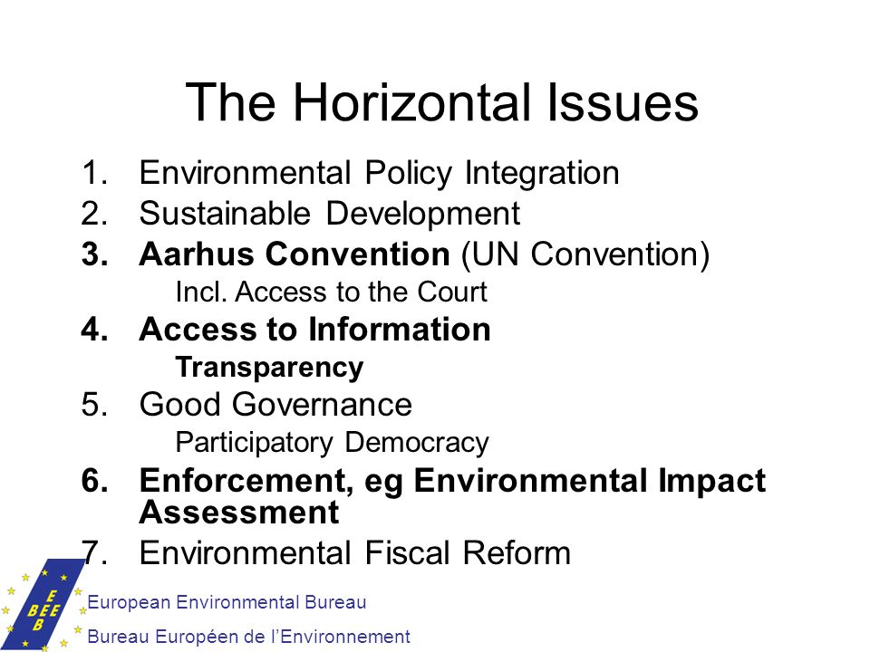 The Horizontal Issues Environmental Policy Integration