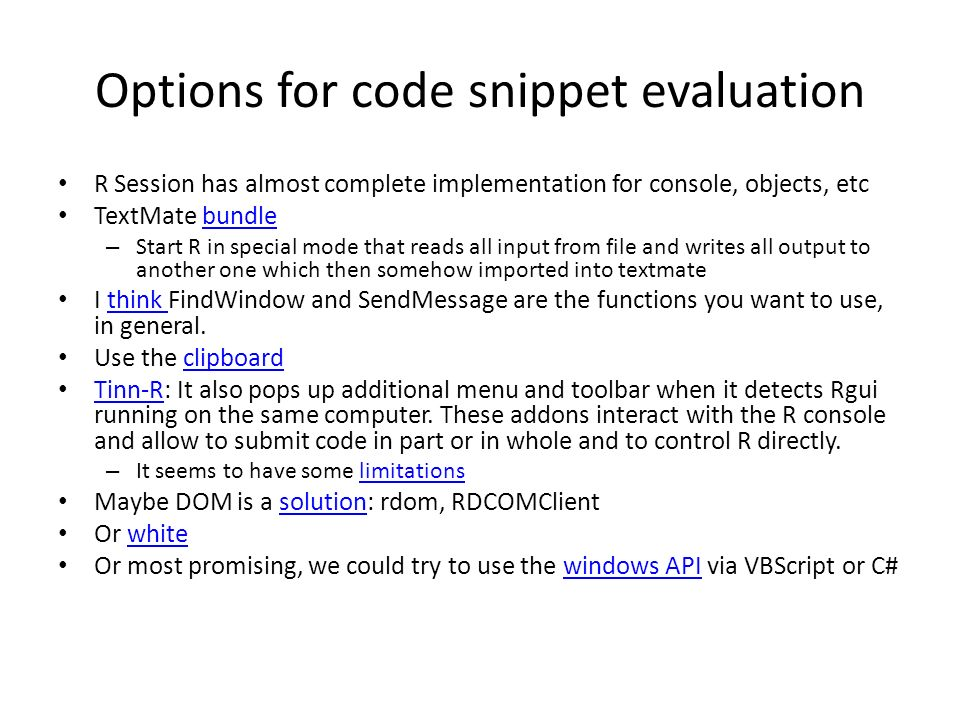 Options for code snippet evaluation