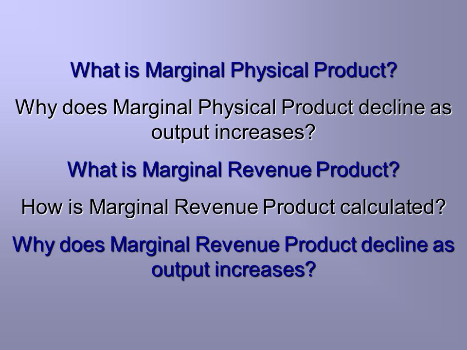 What is Marginal Physical Product