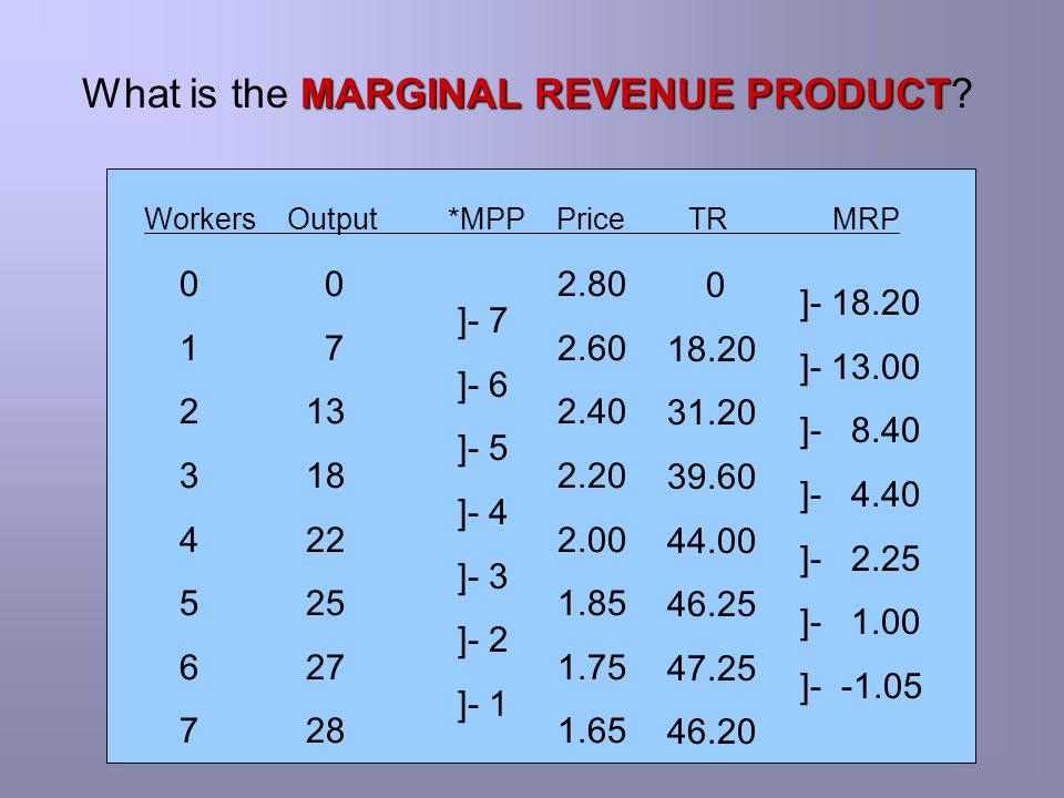 What is the MARGINAL REVENUE PRODUCT