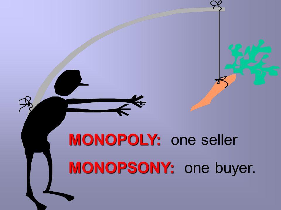 MONOPOLY: one seller MONOPSONY: one buyer.