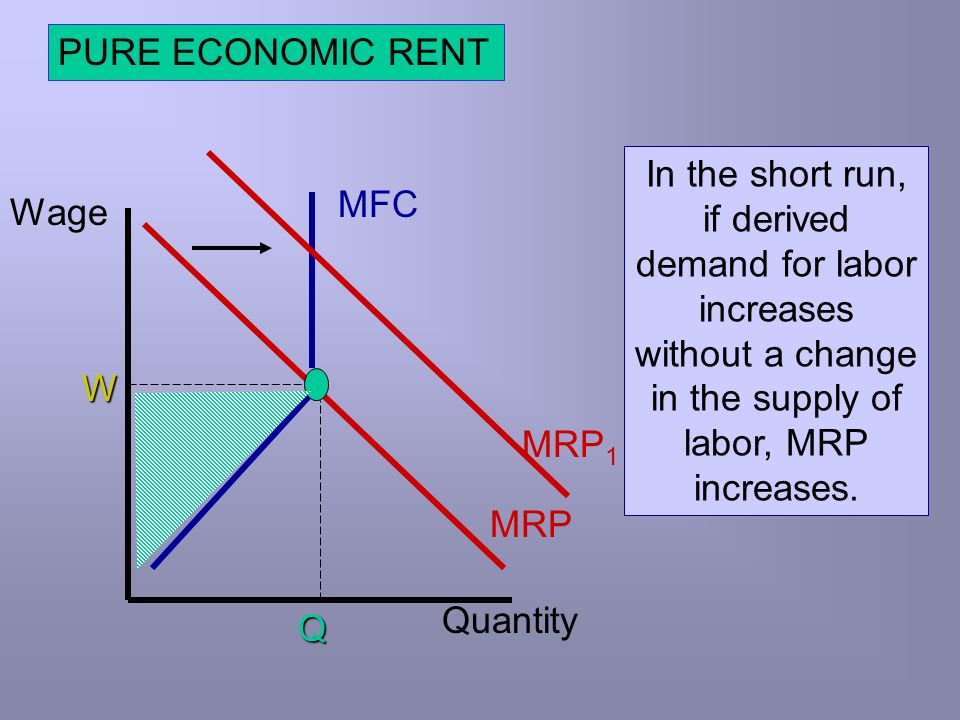 PURE ECONOMIC RENT In the short run, if derived demand for labor increases without a change in the supply of labor, MRP increases.