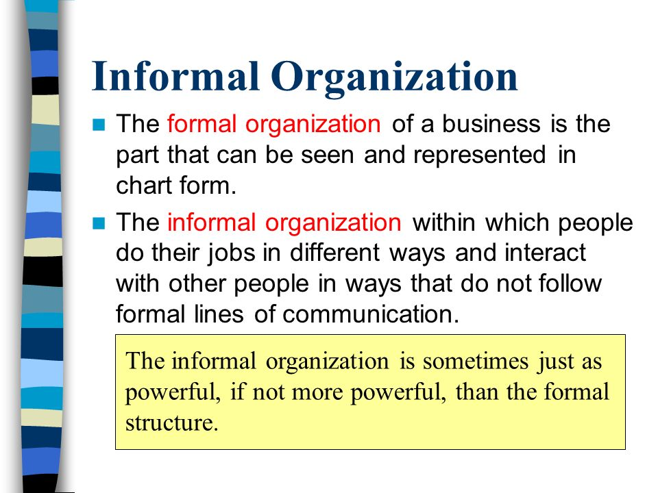 Formal and informal organisations