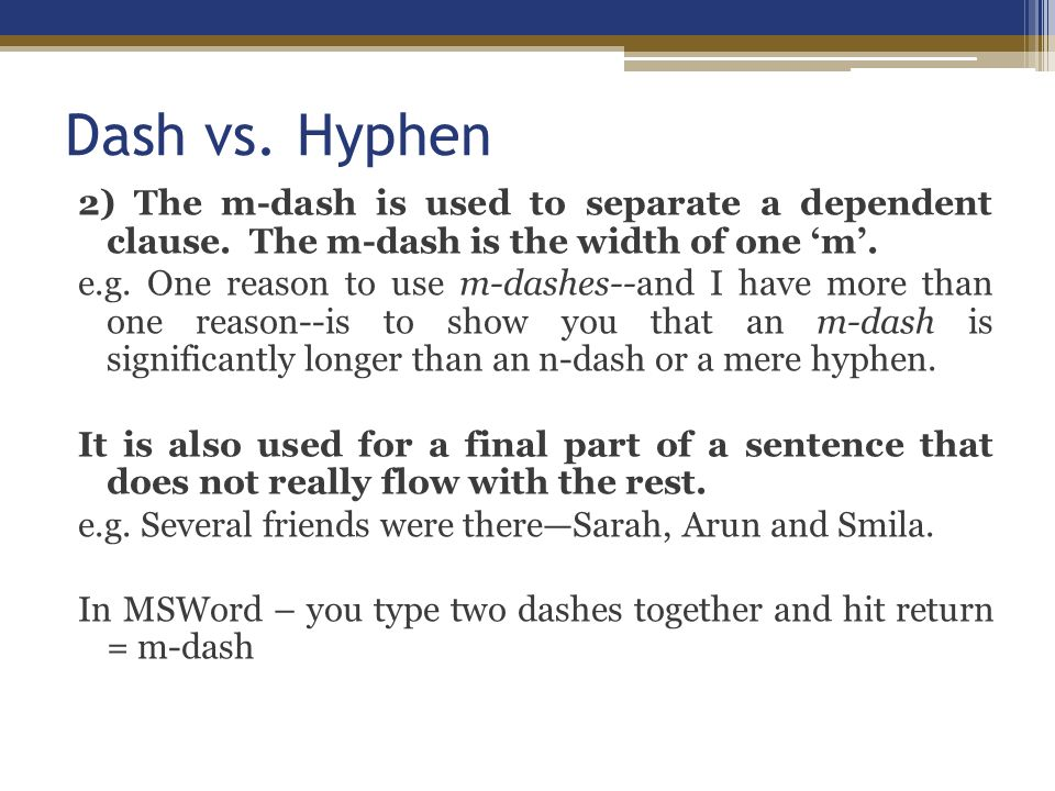 how to use a hyphen to connect two sentences
