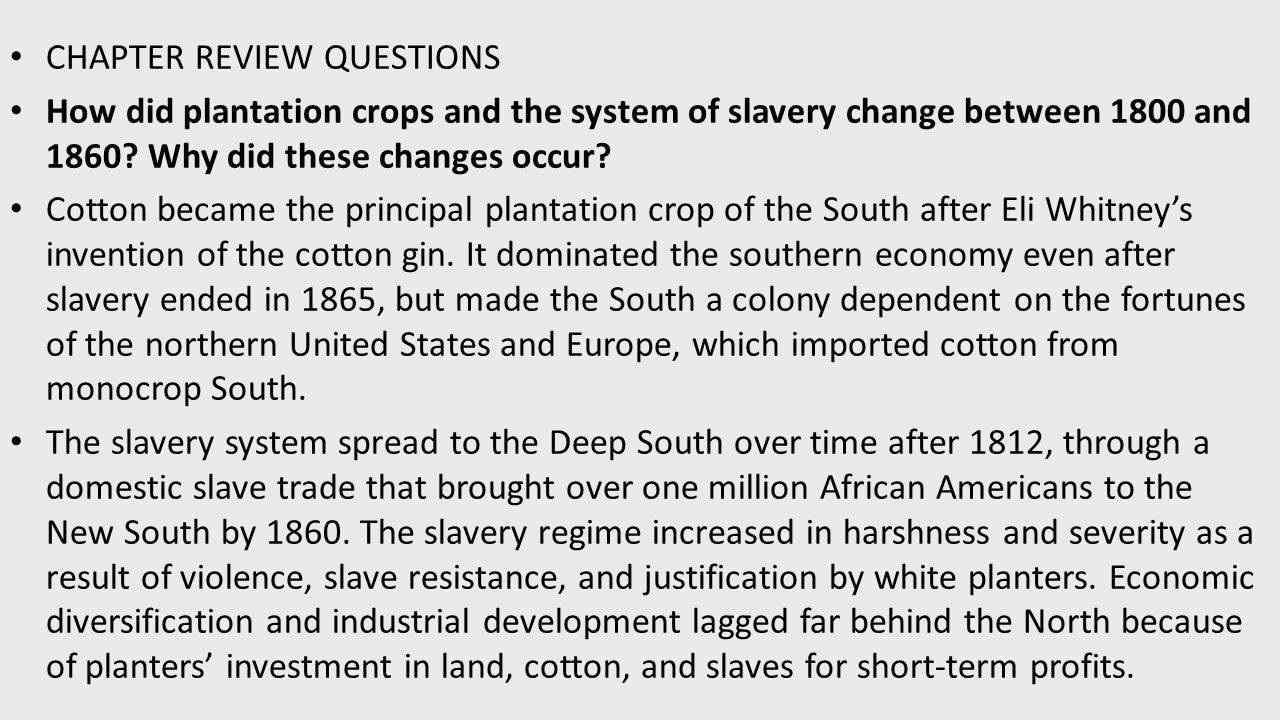 plantation crops and the slavery system essay Slavery essays / plantation slavery  agriculture is closely tied with slavery the slavery system at this  slavery is the south essay #3 slavery played a.