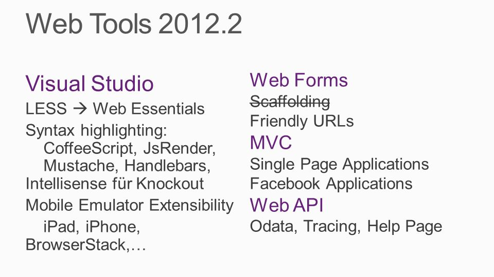 Web Tools 2012.2 Visual Studio Web Forms MVC Web API Scaffolding
