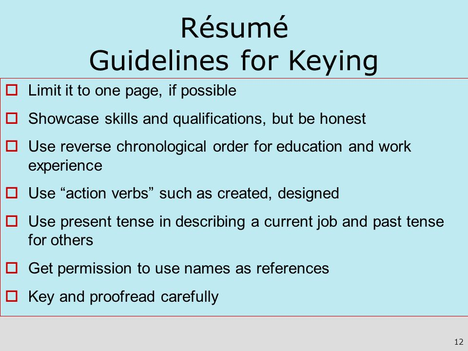 Résumé Guidelines for Keying