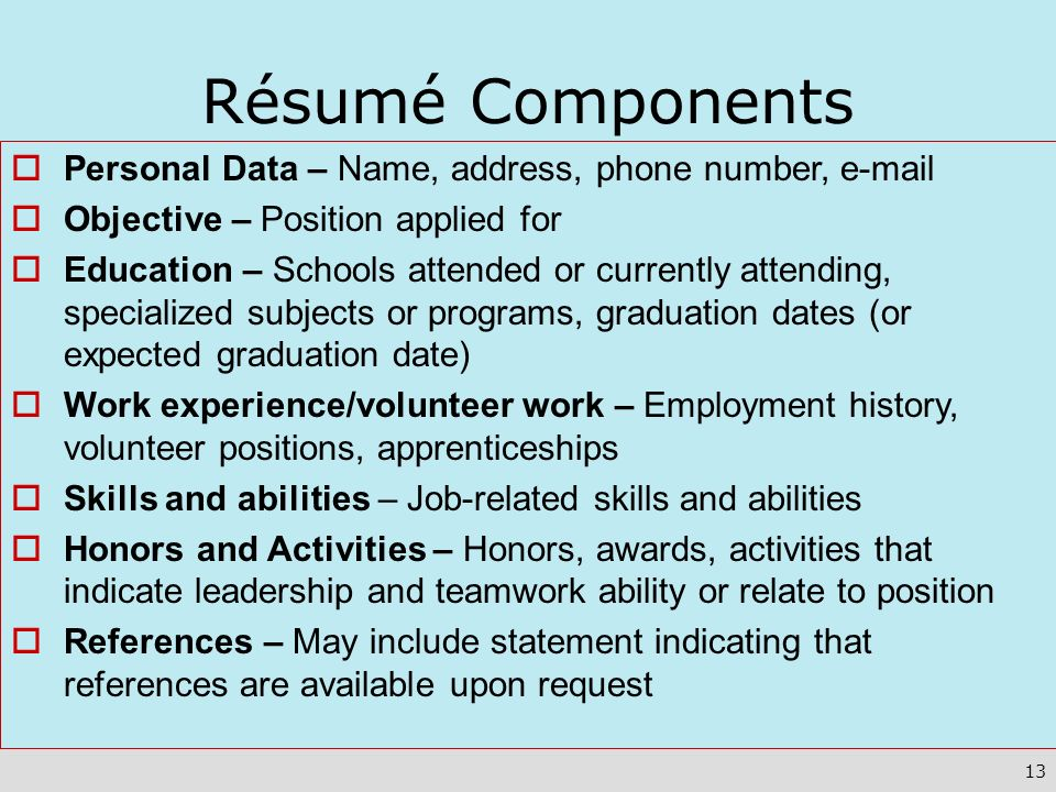 Résumé Components Personal Data – Name, address, phone number,