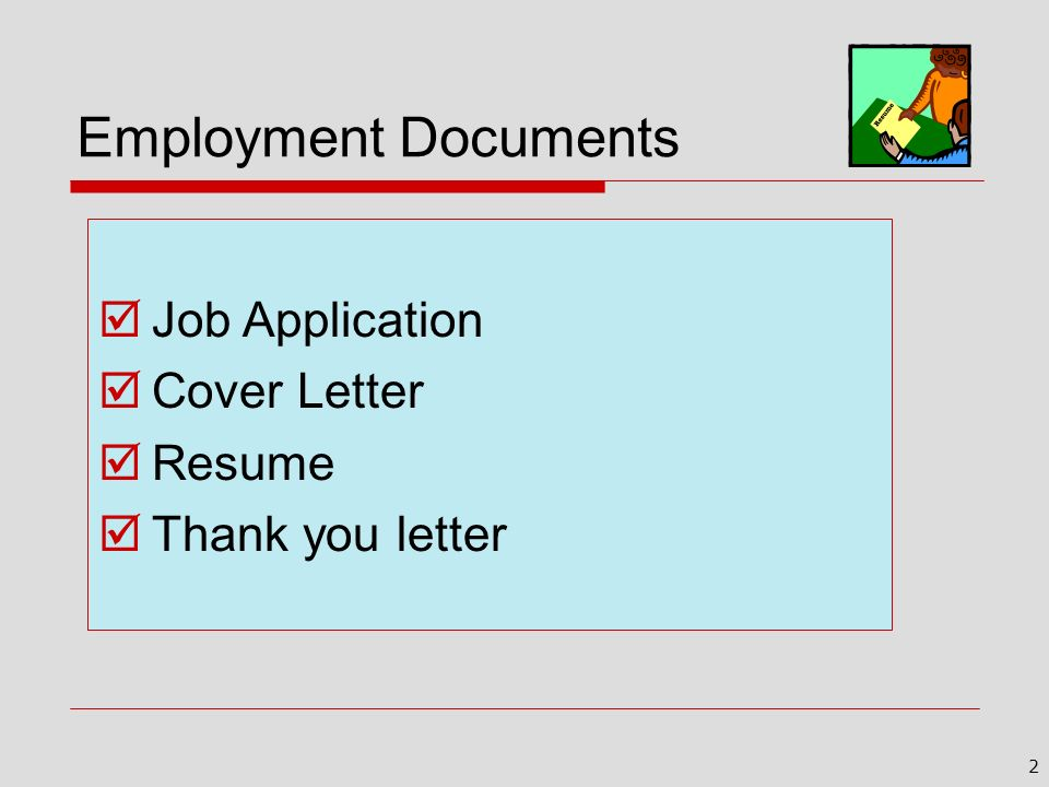 Employment Documents Job Application Cover Letter Resume