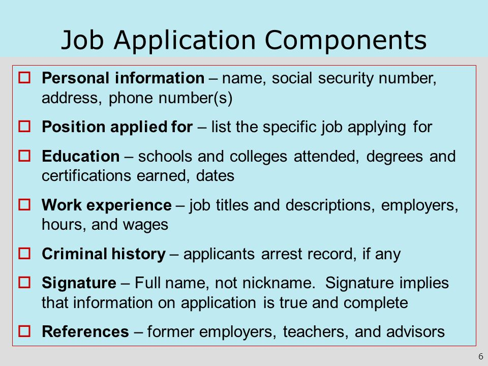 Job Application Components