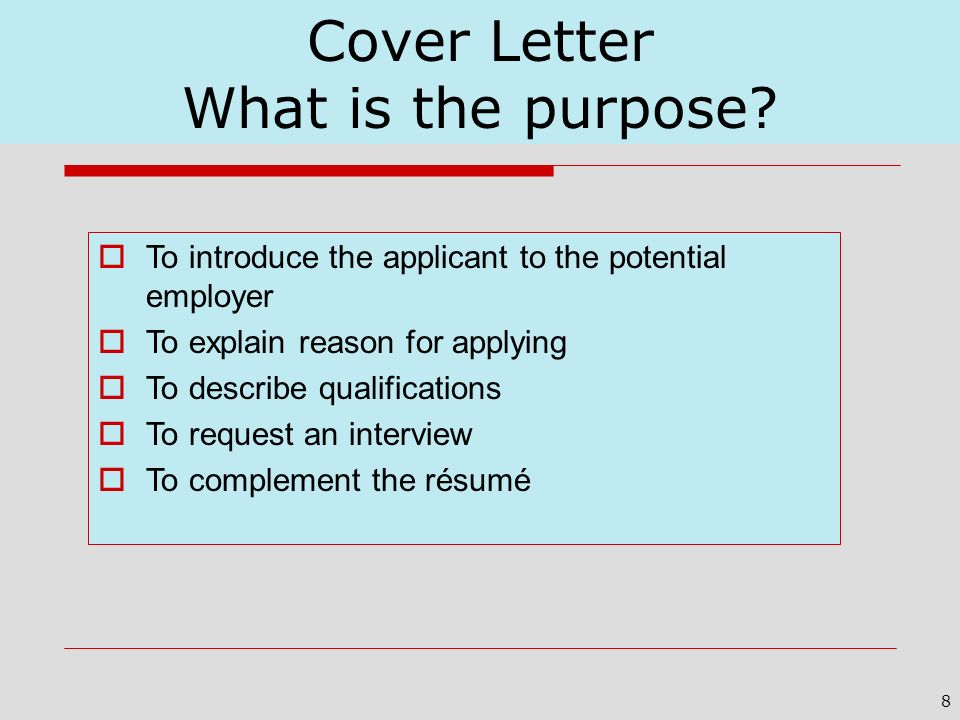 Cover Letter What is the purpose