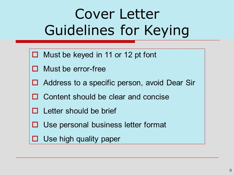 Cover Letter Guidelines for Keying