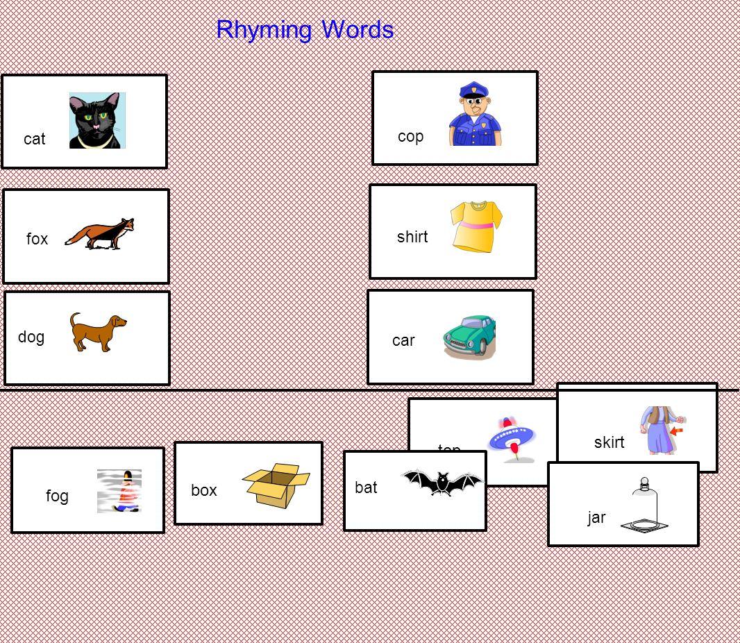 Rhyming Words Cat Cop Shirt Fox Dog Car Skirt Top Box Fog
