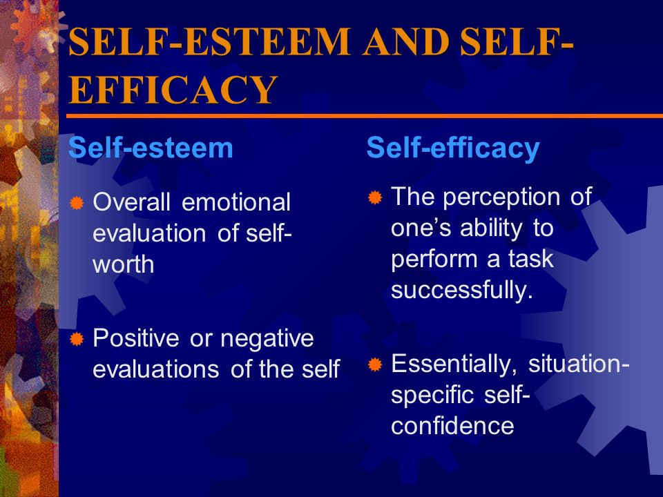 relationship between self esteem and efficacy examples