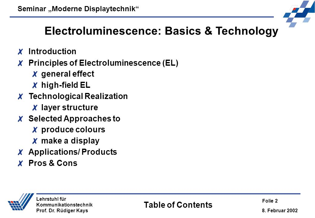 Electroluminescence: Basics & Technology