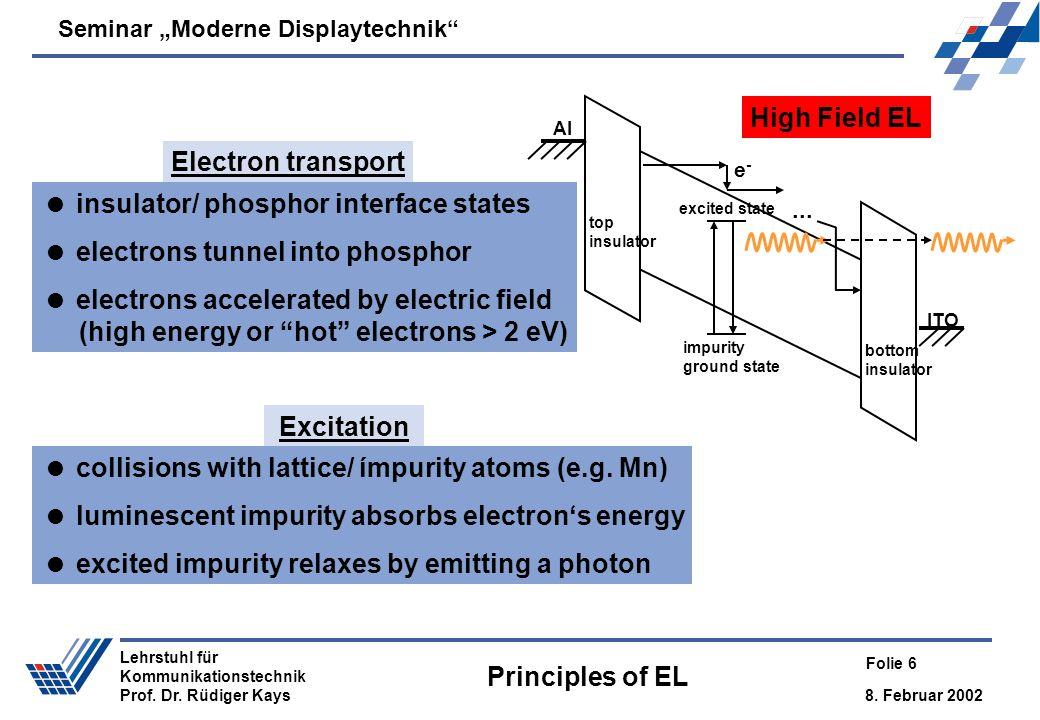 High Field EL Electron transport Excitation Principles of EL