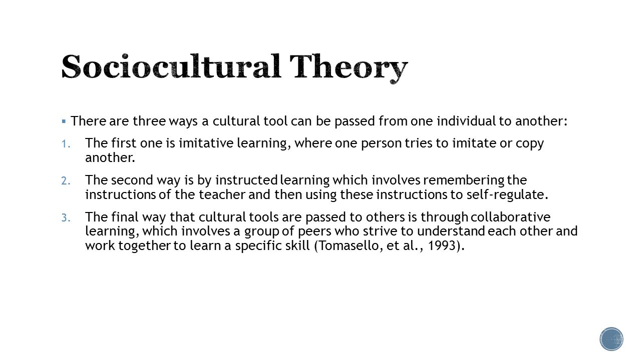 the comparison of sociocultural theory There are five essential differences between social learning theory and  differences between behaviourism and social learning theory  updates from tutor2u.