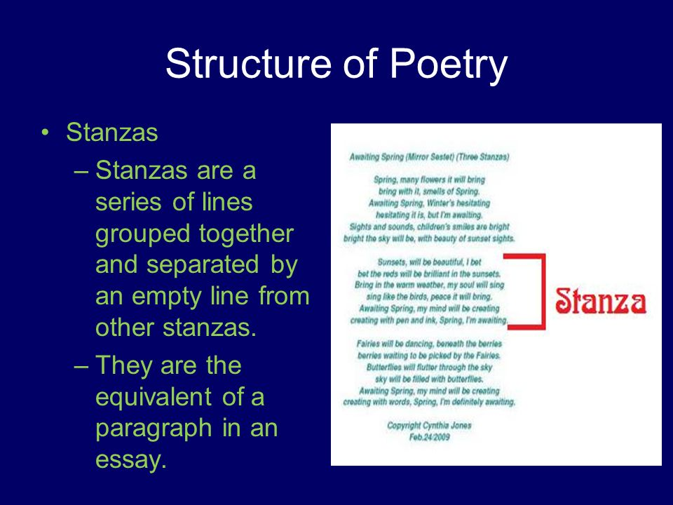 structure of an essay on poetry Your essay should point out the author's choices and attempt to explain their significance  structure (fiction) - the way  structure (poetry).