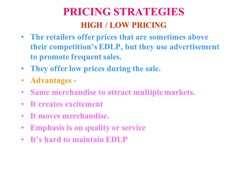 low pricing strategy Understand introductory pricing strategies  in contrast to a skimming approach, a penetration pricing strategy is one in which a low initial price is set.
