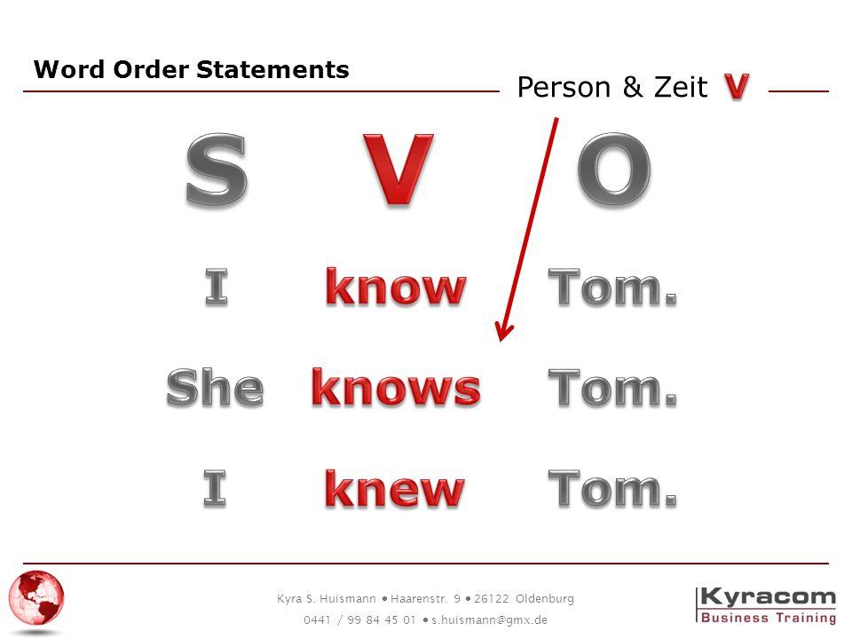 S V O I know Tom. She knows Tom. I knew Tom. V Person & Zeit