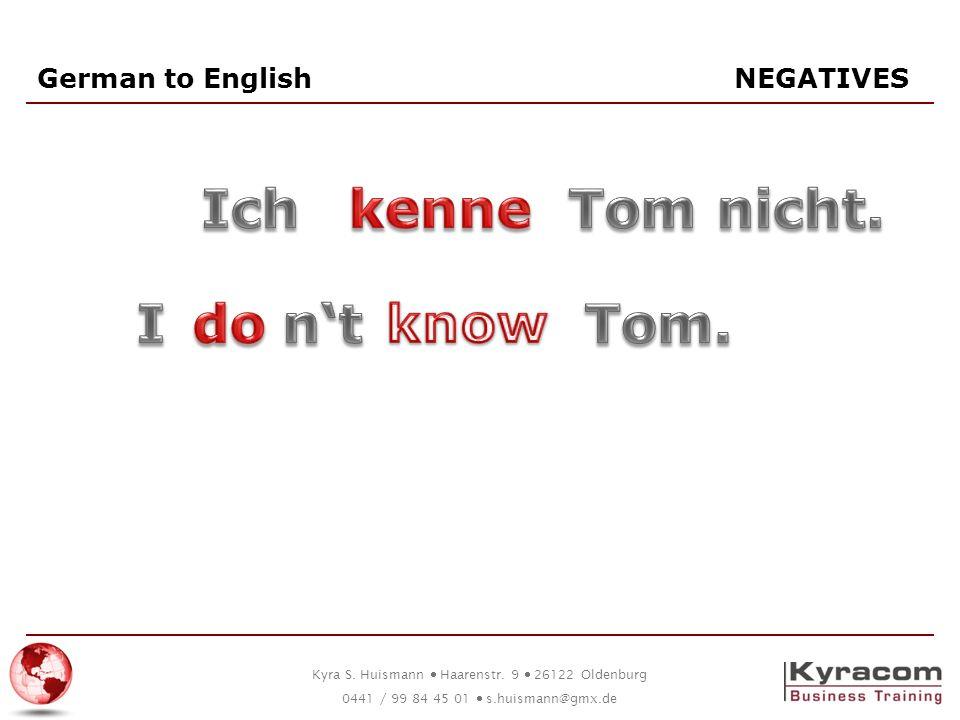 German to English NEGATIVES