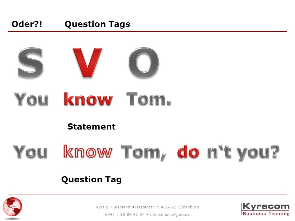 S V O You know Tom. You know Tom, do n't you Oder ! Question Tags