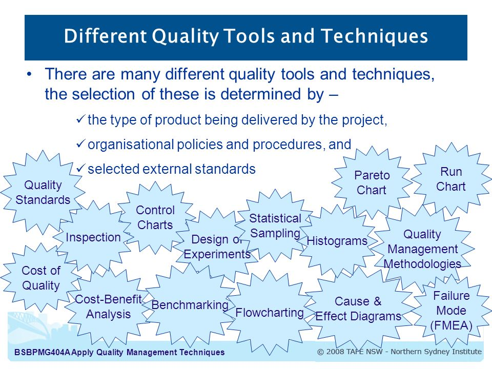 quality management tools and techniques pdf