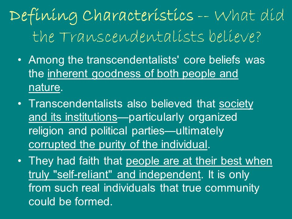 essays characteristics transcendentalism
