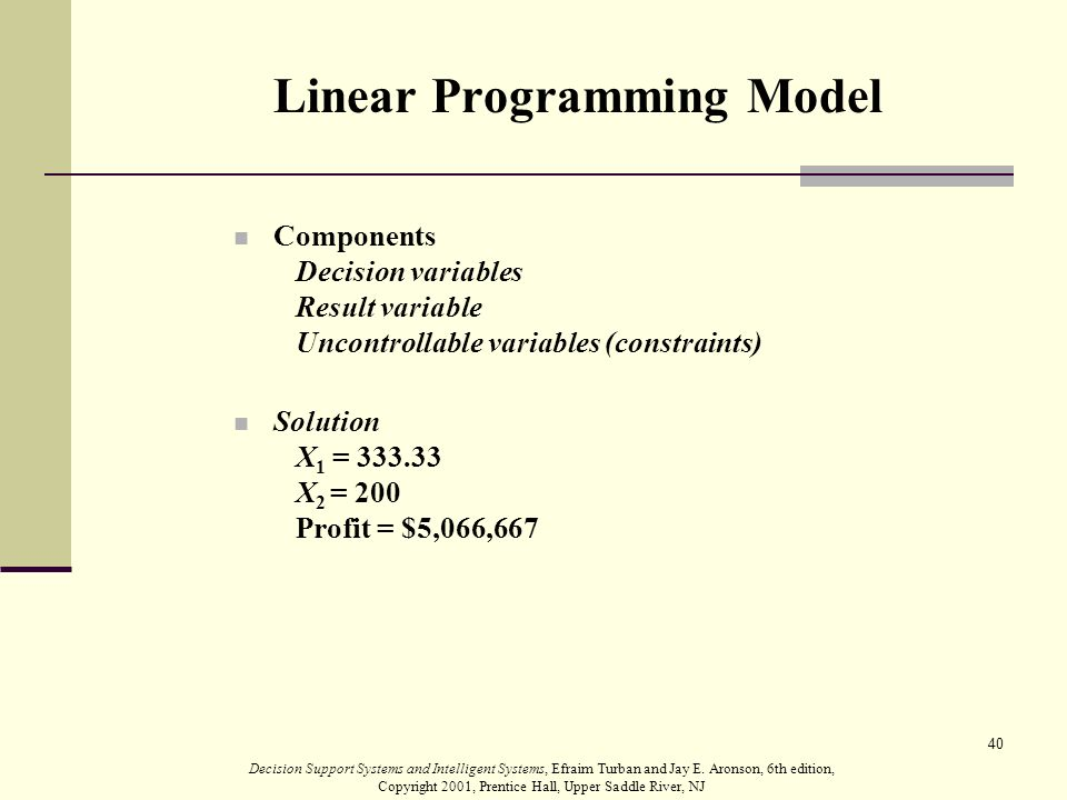 role of linear programming in decision making Acceptance of the broader field of operational research as a scientific approach to decision making linear optimisation, is the problem of maximising a linear function over a convex polyhedron a linear programming problem is a special case of a mathematical programming problem.