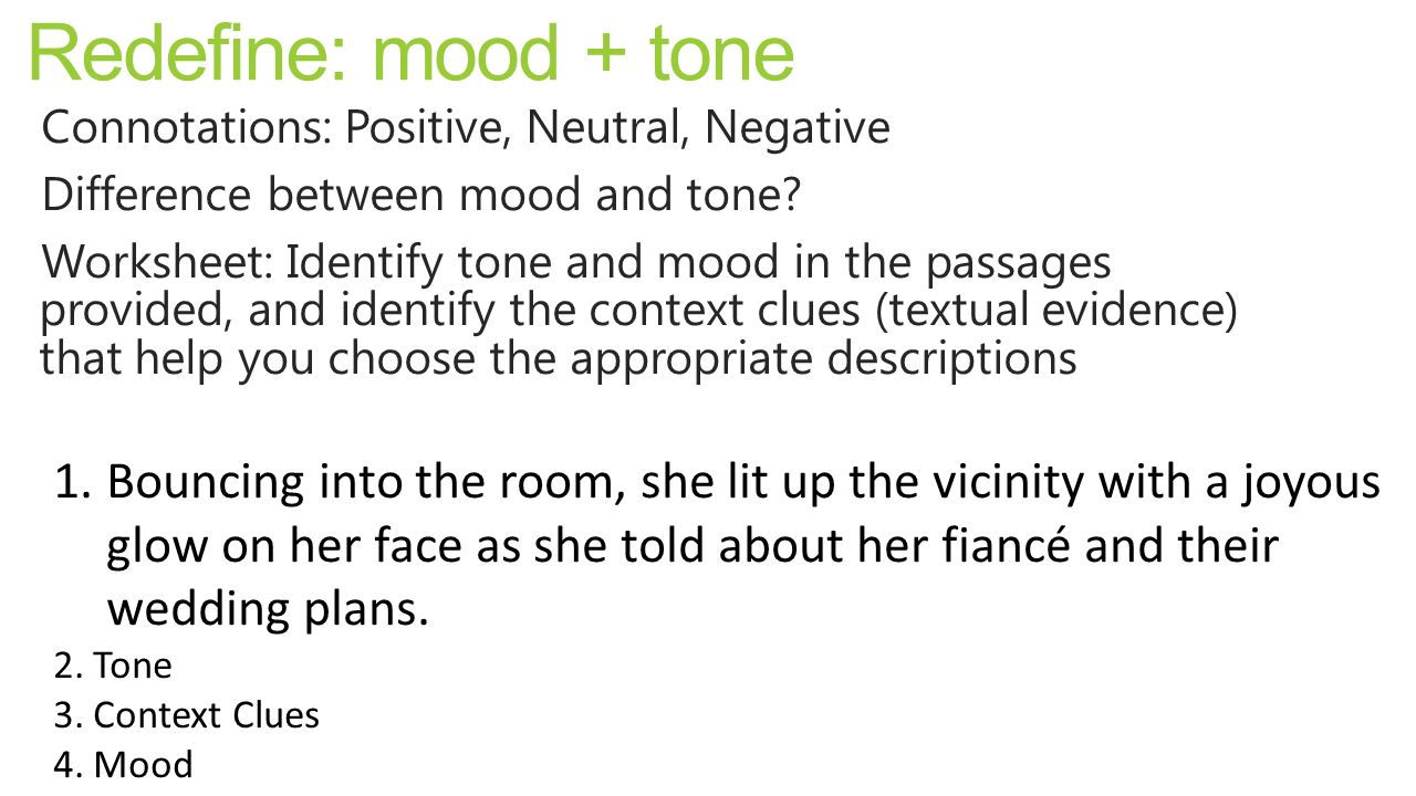 Lesson 17: Mood/Tone, CQC Practice - ppt video online download