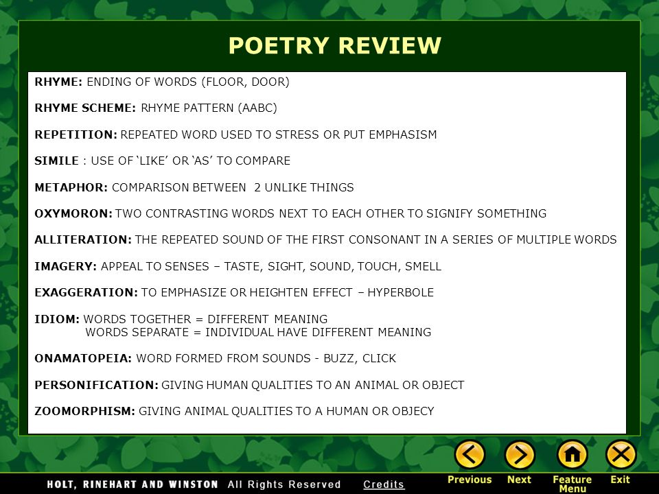 Short Review Poems