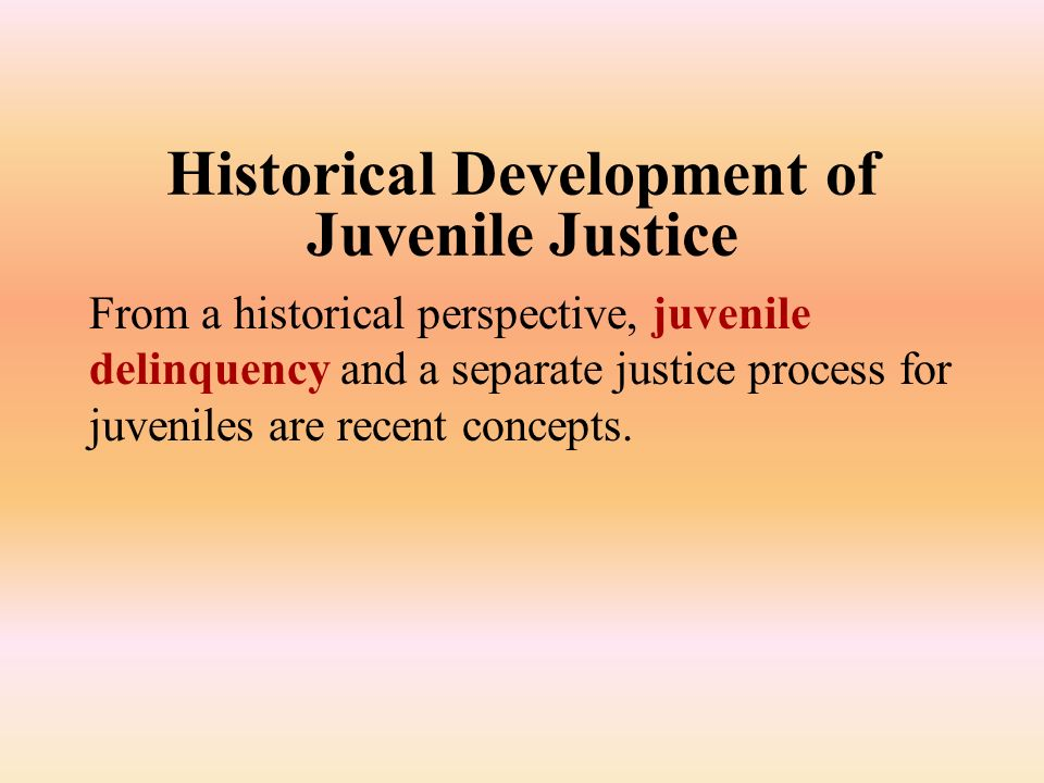 historical development juvenile justice system In my remarks today, i will explain how conceptions of children's rights have been used to shape the american juvenile justice system's development first, i will argue that we should take a long view of this history.