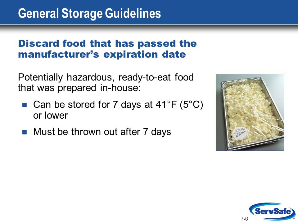 Potentially Hazardous Ready To Eat Food Should Be Used Within