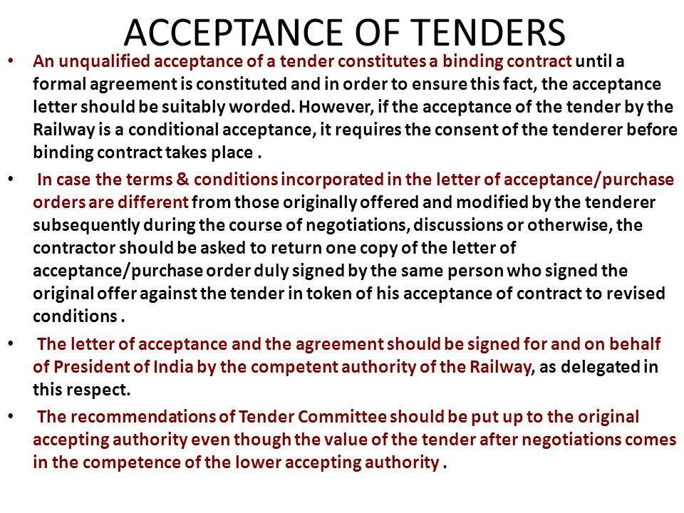 Letter Of Acceptance Of Tender Offer