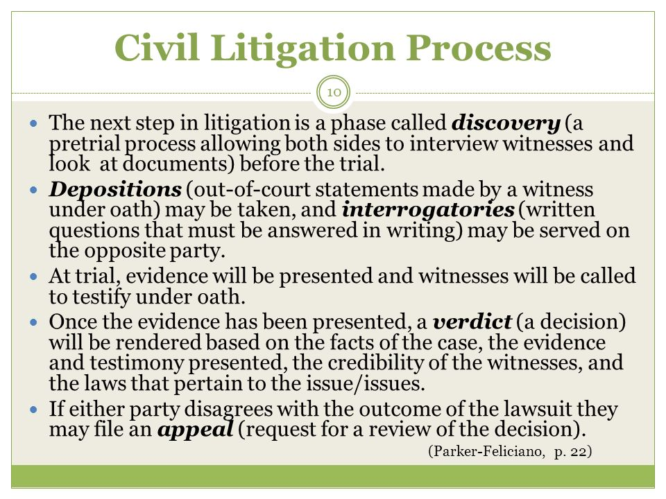 the civil litigation process When you have a dispute with another party, it's important to hire knowledgeable  legal representation to help guide you through the civil litigation process.