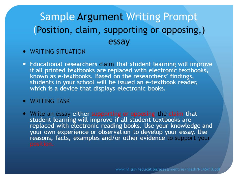 argumentative writing ppt video online  sample argument writing prompt position claim supporting or opposing essay