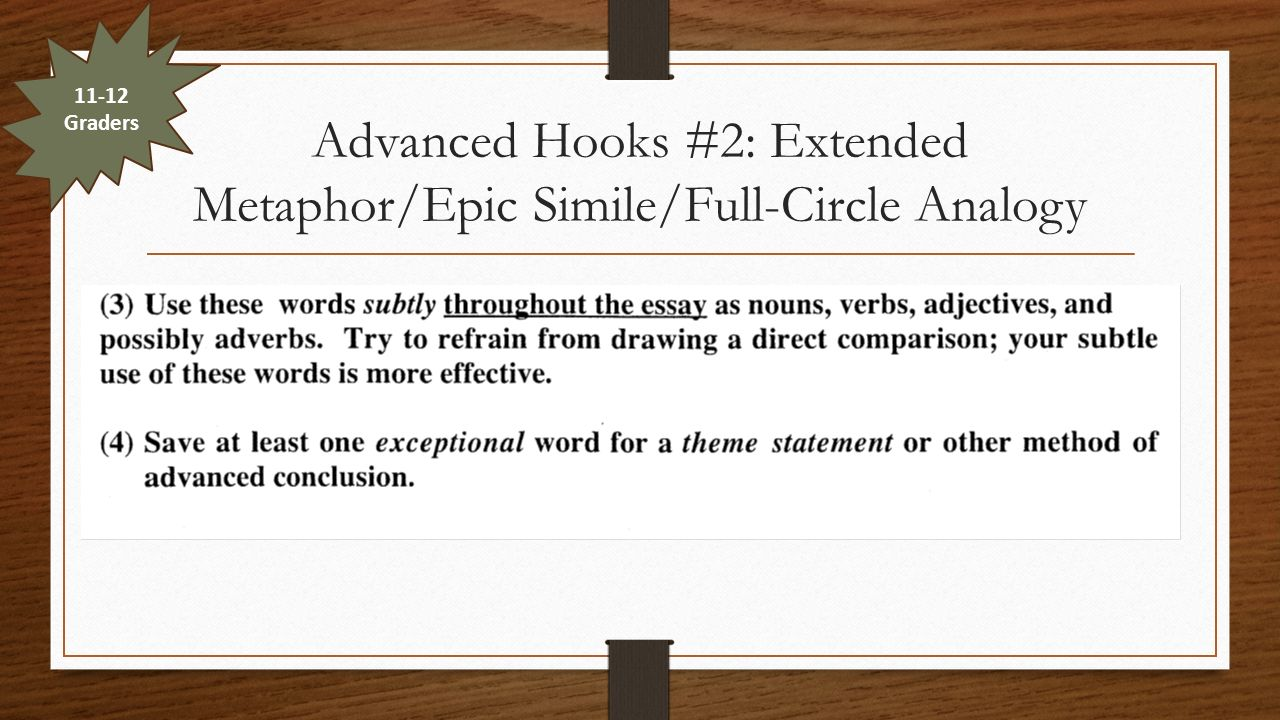 the introduction paragraph ppt video online  advanced hooks 2 extended metaphor epic simile full circle analogy