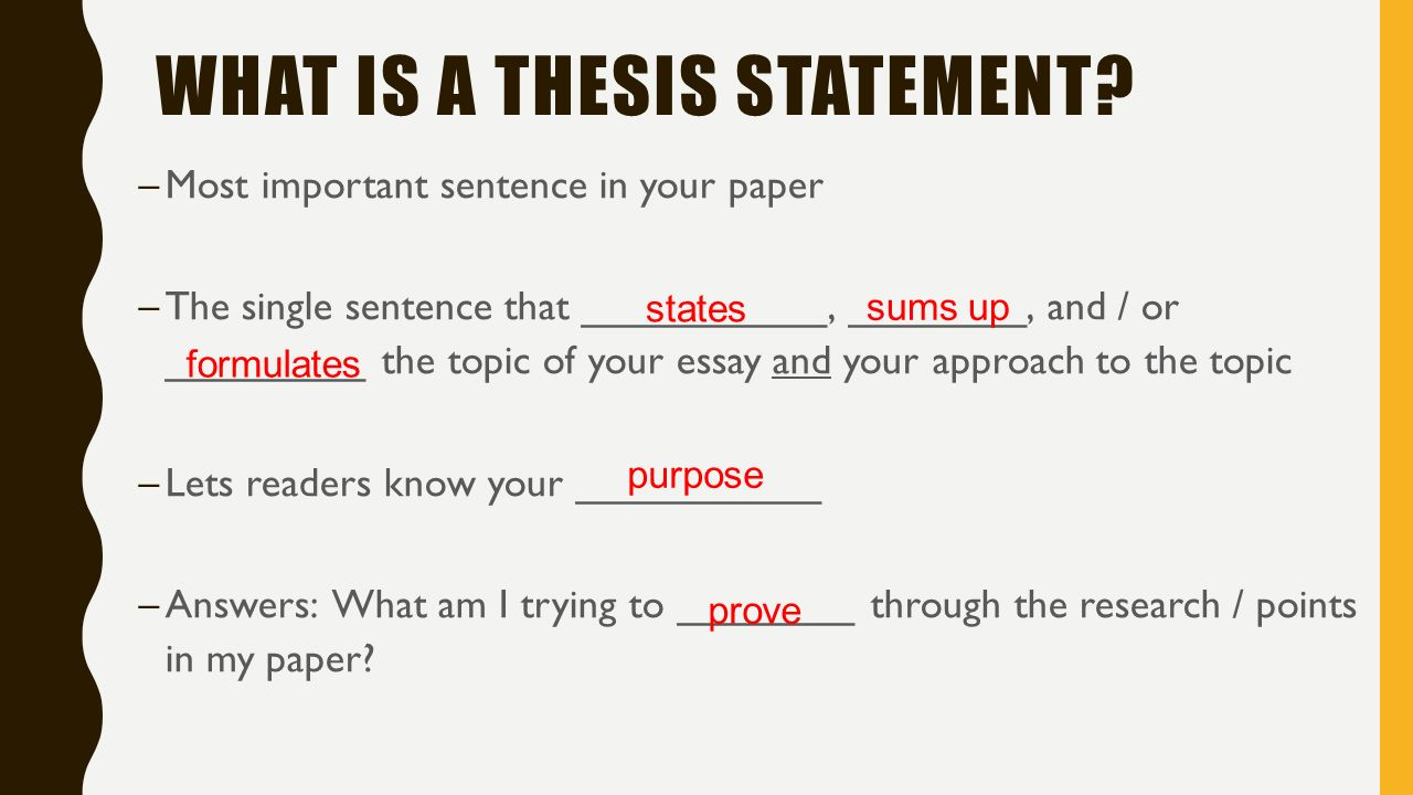 What is the main function of a thesis statement - Answers