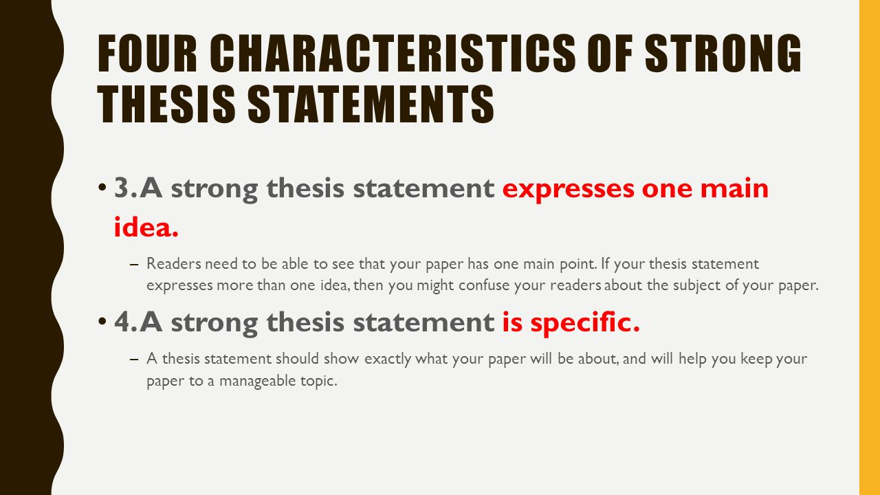 strong versus weak thesis statements The difference between thesis statements and topic sentences writing a thesis statement: the thesis statement tells the reader what the rest of the paper is about.