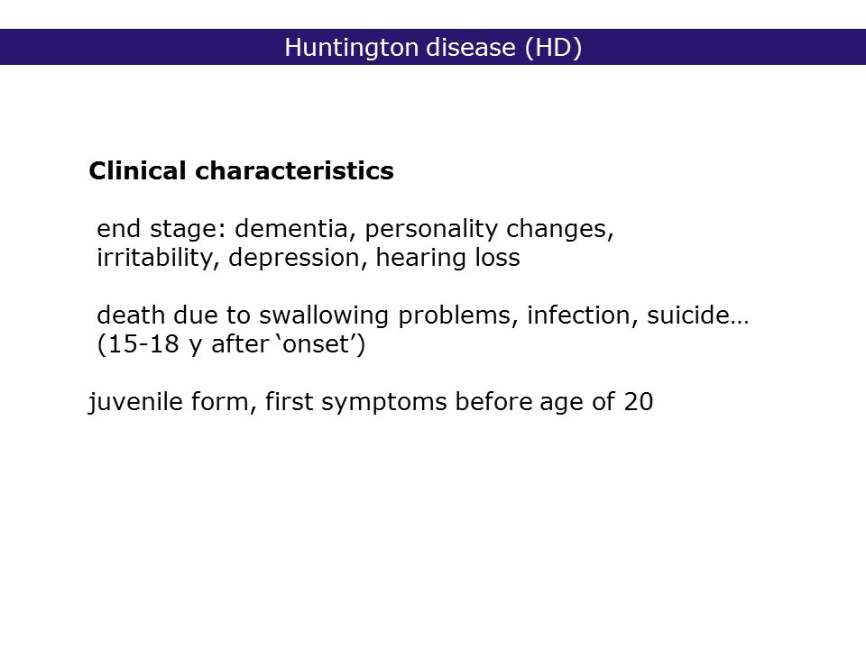 the symptoms and characteristics of the huntingtons disease The most recognizable symptoms in parkinson's disease are movement (motor) related the main pathological characteristics of pd are cell death in the brain's.