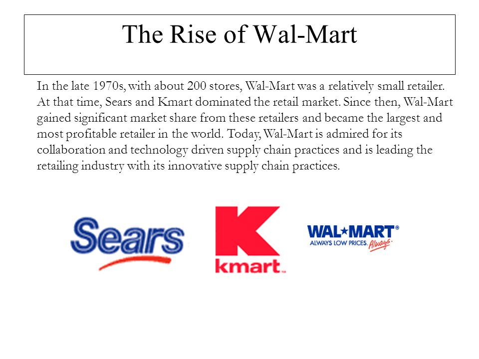 wal mart supply chain practices essay Here is a value chain analysis of walmart that analyses how the brand has managed activities down its value chain to at the core of walmart's inventory management technique is a supply chain practice called cross ( notes and essays on cheshnotes are based on online resources.